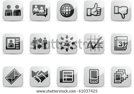 Social Communication White icons set two - stock vector