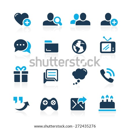Social Communications Icons // Azure Series - stock vector