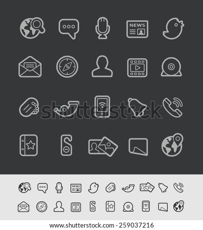 Social Communications Icons // Black Line Series -- EPS 10+ Contain Transparencies - stock vector