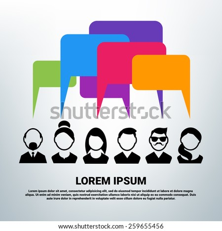 Social community concept. Black vector icons. Group of people - stock vector
