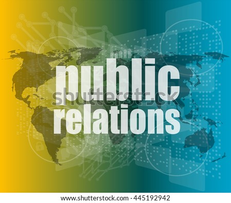 social concept: public relations words on digital screen, vector quotation marks with thin line speech bubble. concept of citation, info, testimonials, notice, textbox. flat style - stock vector