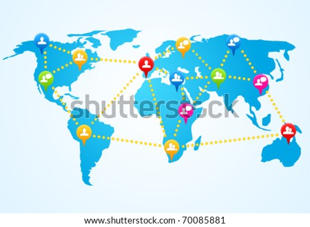 Social connection map with pin icons - stock vector
