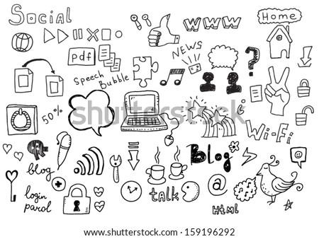 Social Doodles - stock vector