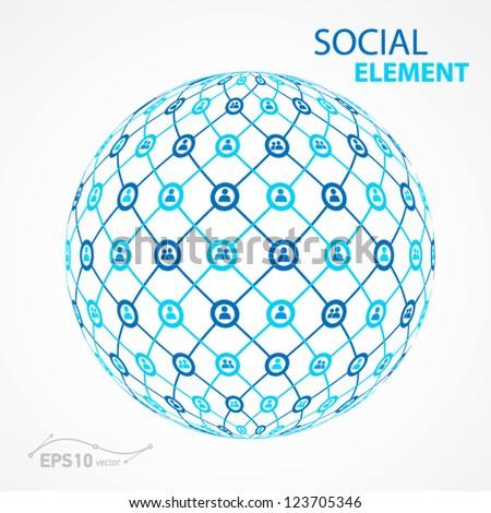 social element sphere / vector - stock vector