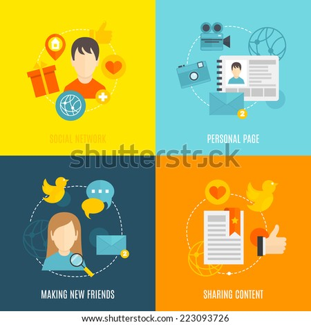 Social flat icons set with network personal page making new friends sharing content isolated vector illustration - stock vector