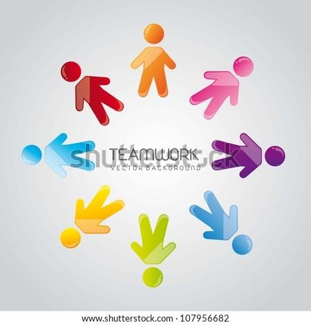 social group teamwork over gray background. vector illustration - stock vector