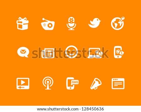 Social icon set, white & orange - stock vector