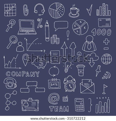 Social icons and business icons hand drawn icon set. Sketch business symbols and web icon set. Doodle vector collection simple symbols for business and social networking