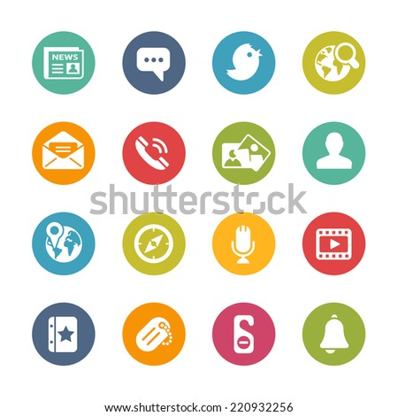 Social Icons // Fresh Colors -- Icons and buttons in different layers, easy to change colors. - stock vector