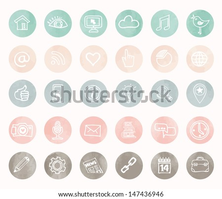 Social icons - hand drawn design - stock vector