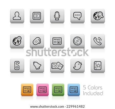 Social Icons // Outline Buttons  ++ Each color in a layer - To select only the desired color, we suggest to block the others colors on the Layer Panel++  EPS 10+ - stock vector