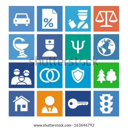 Social icons set on a color background - stock vector