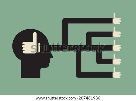 social influence - peer pressure on individual decision  - conformism - stock vector