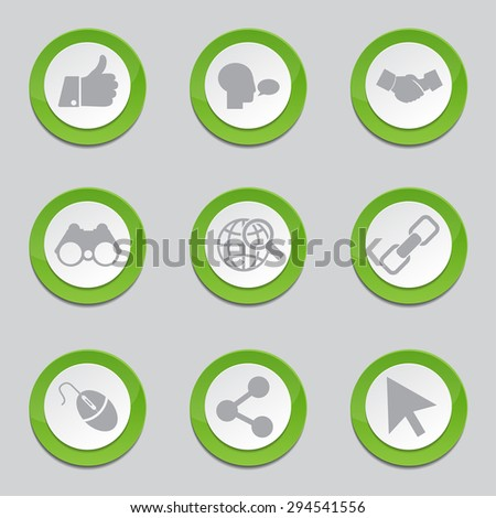 Social Internet Green Vector Button Icon Design Set
