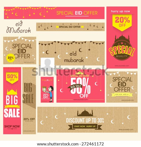 Social media ads, header or banner set of Big Sale with discount offers on occasion of Islamic festival, Eid Mubarak celebration. - stock vector