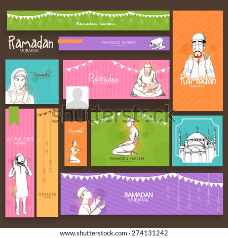 Social media ads, header or banner set with Islamic elements for holy month of Muslim community, Ramadan Kareem celebration. - stock vector