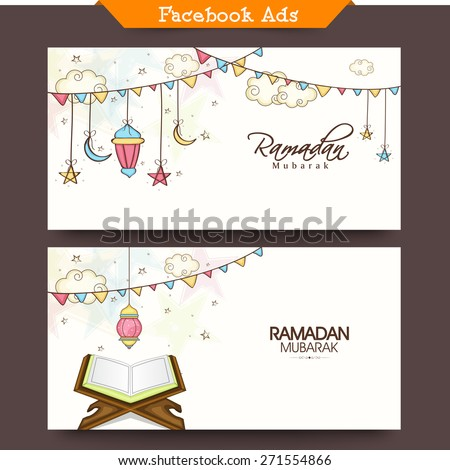 Social media ads or banners with arabic lanterns and holy book of Quran Shareef for muslim community festival, Ramadan Kareem celebration. - stock vector