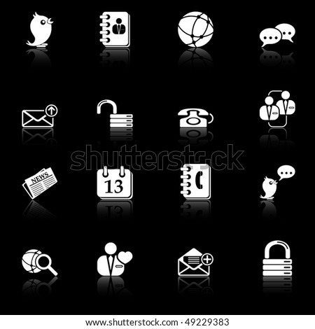 Social media and blog icons - black series - stock vector