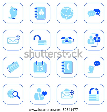 Social media and blog icons - blue series - stock vector