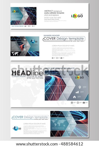Social media and email headers set, modern banners. Business templates. Cover template, flat layout in popular formats. Abstract background, color glowing neon streams, motion design vector.