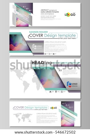 Social media and email headers set, modern banners. Business templates. Flat style vector layout in popular sizes. Bright color pattern, colorful design, shapes forming abstract beautiful background.