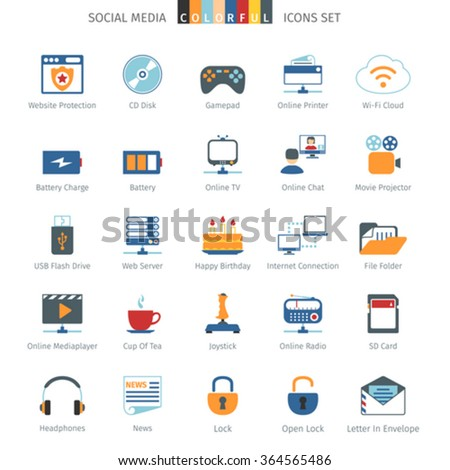 Social Media And Network Colorful Icons Set - stock vector