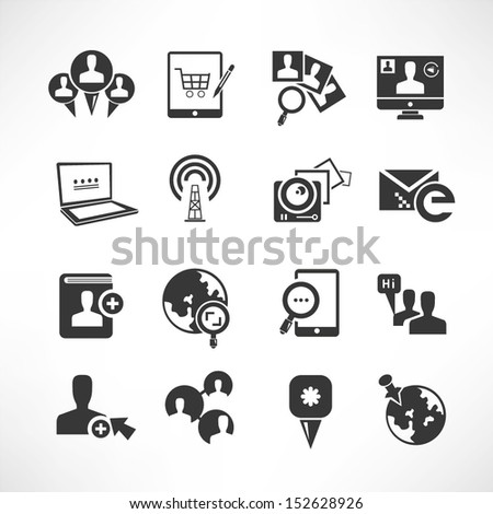 social media and network icons set - stock vector