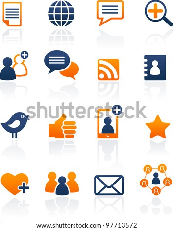 Social Media and network icons, vector set - stock vector