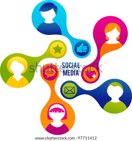 Social Media and network illustration - stock vector