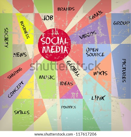 Social media and network illustration, vintage and grungy - stock vector