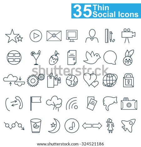 Social media and network outline icons