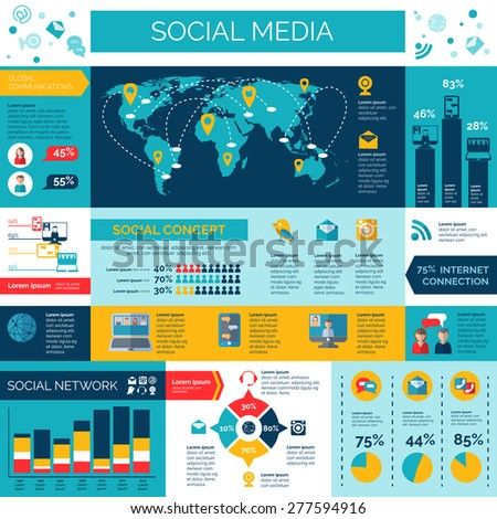 Social media and networks infographic set with surveys diagrams and charts flat vector illustration  - stock vector