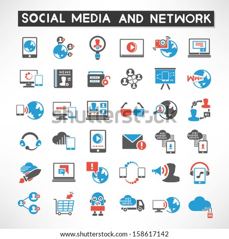 social media and social network icons set - stock vector