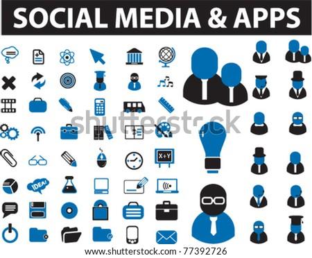 social media & apps icons, signs, vector illustrations - stock vector
