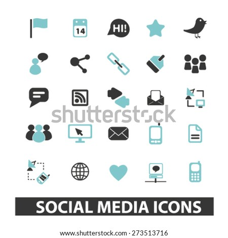 social media, blog, community isolated icons, signs, illustrations website, internet mobile design concept set, vector - stock vector