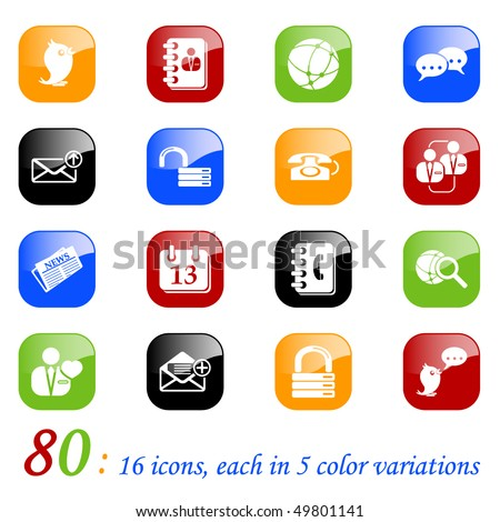 Social media&blog icons - set of 16 different icons, each with 5 different backgrounds. - stock vector
