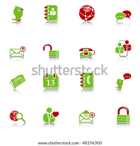 Social media & blog icons with reflection, green-red series - stock vector