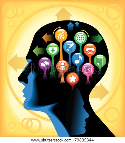 Social-Media-Brain.The development of global communications - stock vector