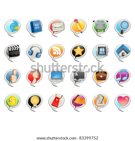 Social Media Bubble Icon - stock vector