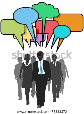 Social media business people walk and talk in color speech bubbles - stock vector