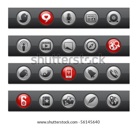 Social Media // Button Bar Series - stock vector