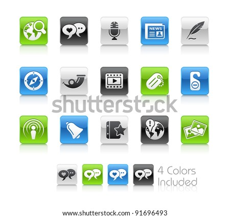 Social Media Buttons  / The file Includes 4 color versions in different layers. - stock vector