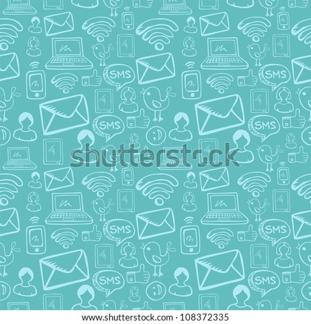 Social media cartoon icons seamless pattern over sky blue background. Vector file layered for easy manipulation and custom coloring.