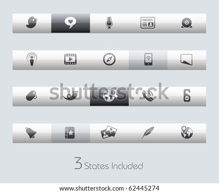 Social Media // Classic Series +++ It includes 3 buttons states in different layers. +++ - stock vector