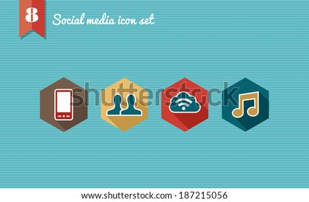 Social Media cloud computing flat icons set collection. Vector file layered for easy manipulation and custom coloring. - stock vector