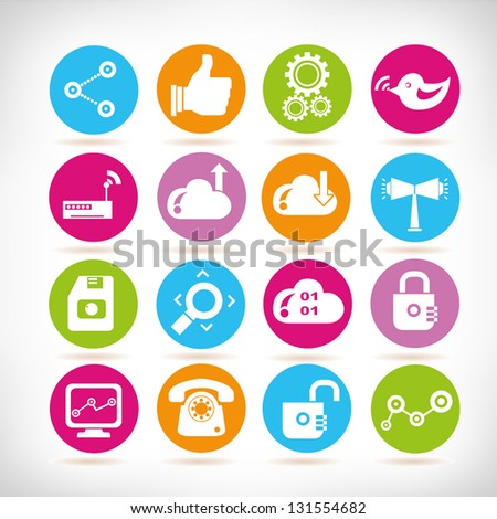 social media, communication and internet icon set, apps icons - stock vector