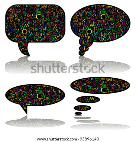 Social Media, communication bubbles with letters, vector - stock vector