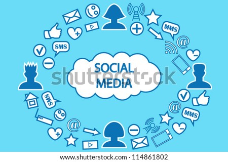 Social media communication cloud computing background - stock vector