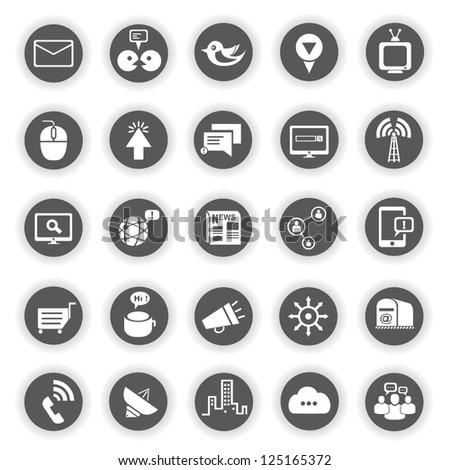 social media, communication icon set - stock vector