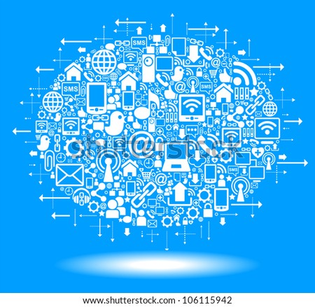 social media, communication in the global computer networks - stock vector